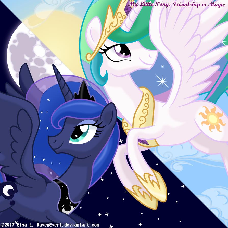 Love Is In Bloom: Celestia and Luna by Trinityinyang on