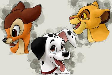 Bambi, Dalmatian and Simba by RavenEvert