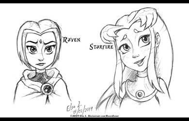 Raven and Starfire - Disney Version by RavenEvert