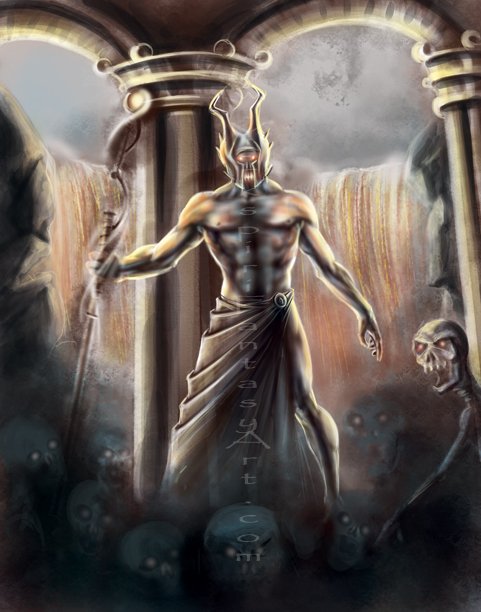 Greek God Painting Black And Grey