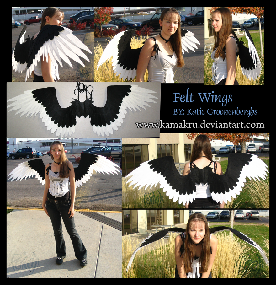Felt Wings .:. Black and White by Kamakru