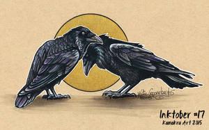 Inktober #17 2015 - The Love of Ravens by Kamakru