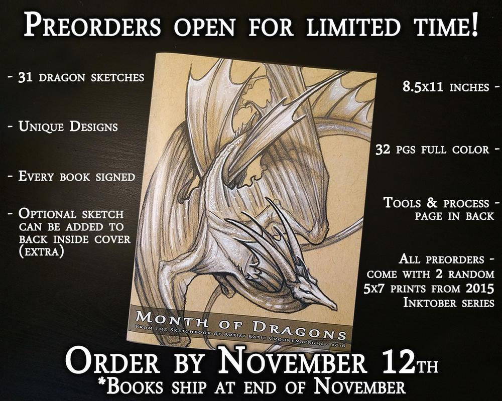Month of Dragons Book available for pre-order! by Kamakru