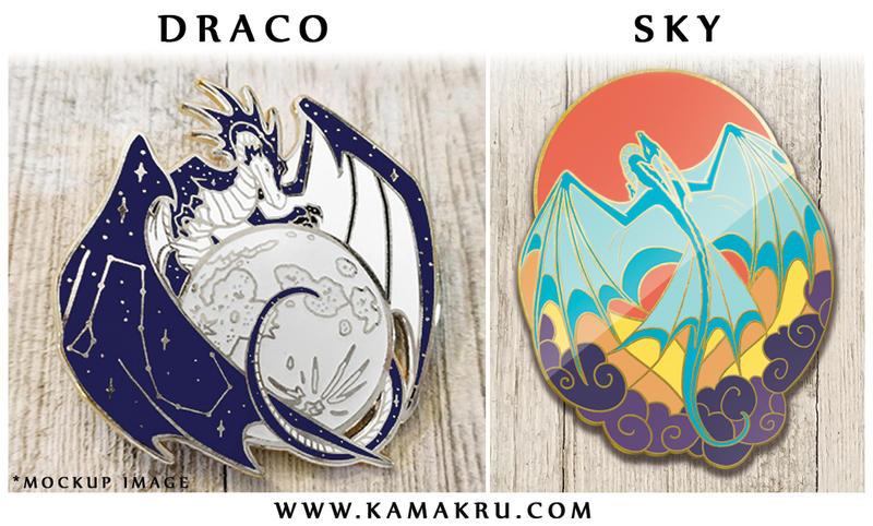 Draco and Sky enamel pins! by Kamakru