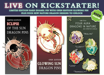 Eclipse, Sun Dragon with Aura Dragon enamel pins! by Kamakru