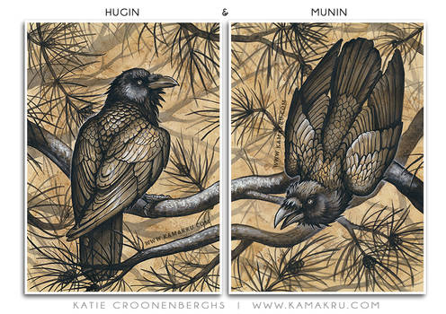 Ink And coffee - Hugin and Munin