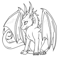 baby dragon lineart by sweetsasu