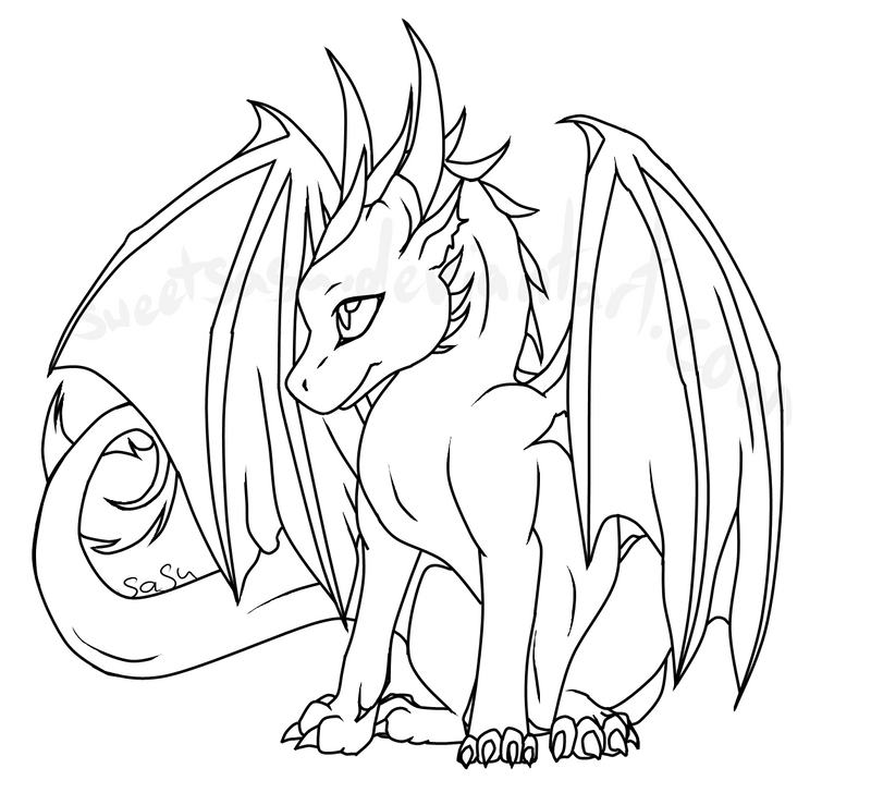 Dragon Lineart : Baby dragon lineart by sweetsasu on deviantart