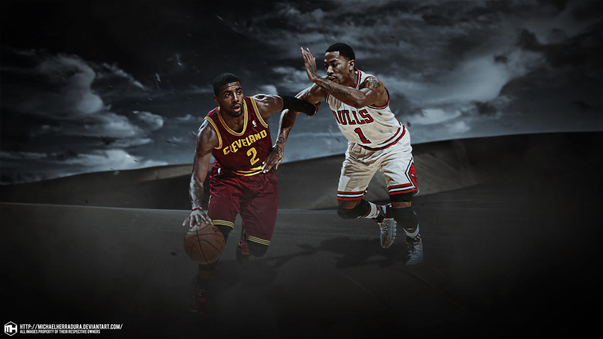 Kyrie Irving And Derrick Rose Clash Wallpaper By Michaelherradura