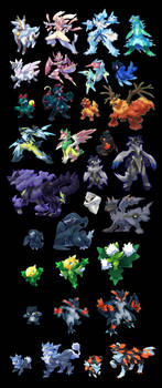 A whole bunch of pocket monsters
