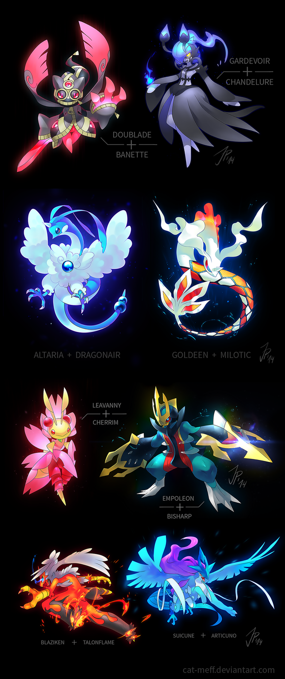 A bunch of Pokemon Fusions by cat-meff