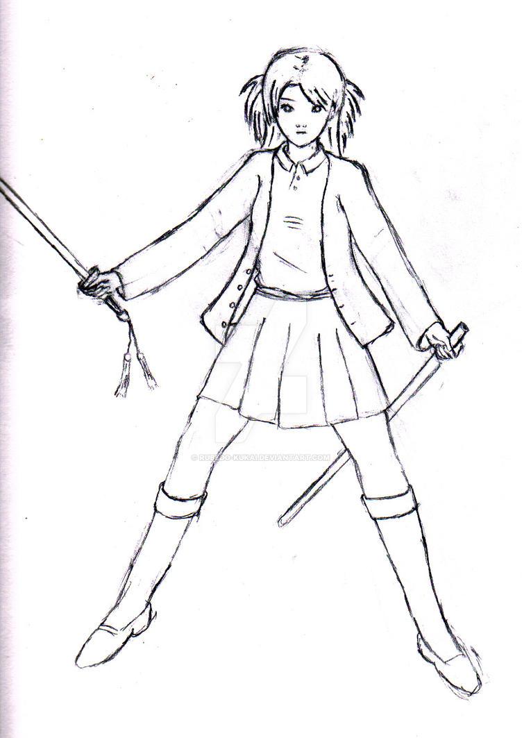 Sword girl drawing by rubedo kukai