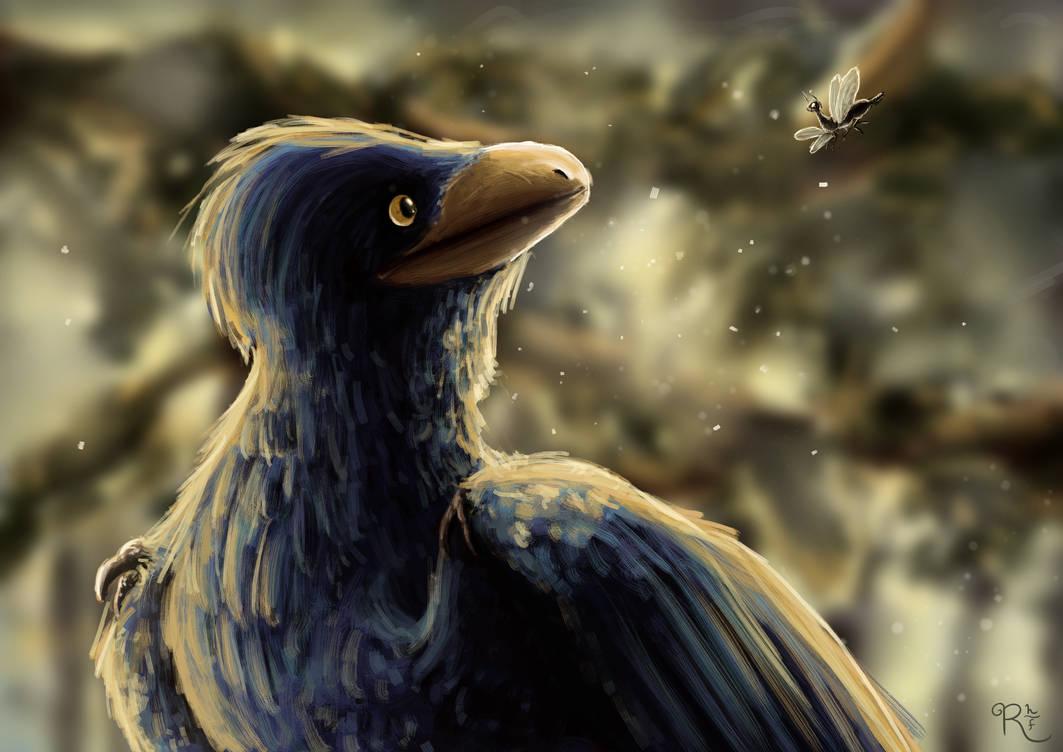 PALEOART | Microraptor and Amarantoraphidia by Ravenhoof
