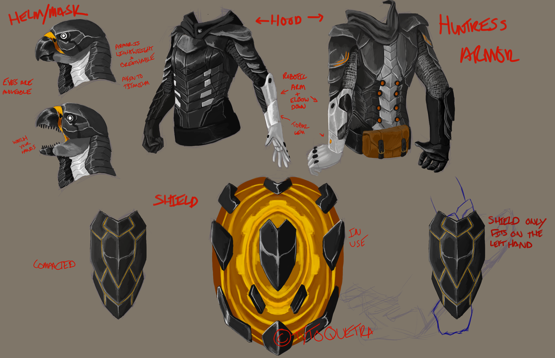 Huntress Armor Concepts by Tytoquetra