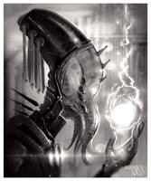 Squid-faced alien priest by JakkeV