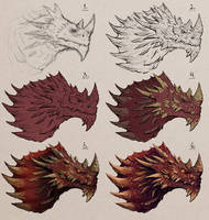 Dragon Sketch Steps by JakkeV