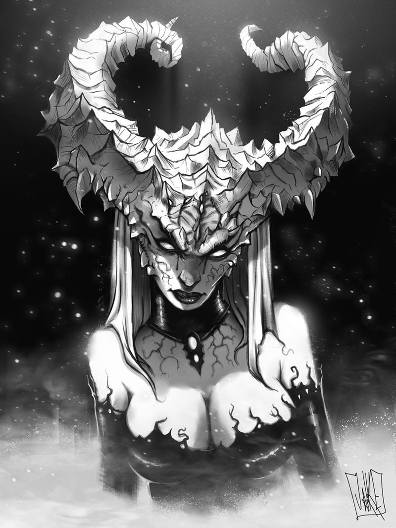 Demon Lady (greyscale version) by JakkeV