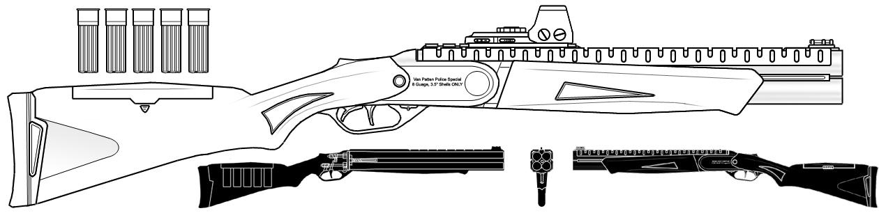 4 Barrel Break-Open Shotgun by sharp-n-pointy