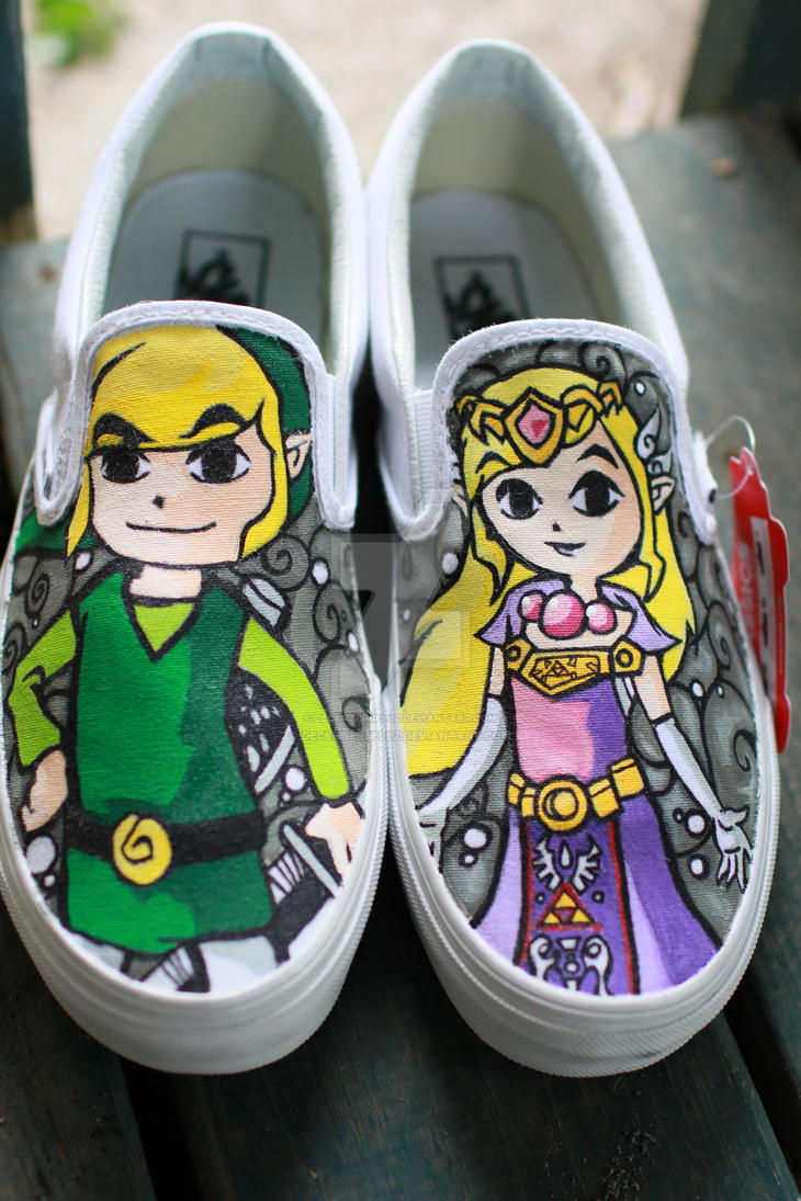 Legend of Zelda Windwaker Vans by DecemberBellz