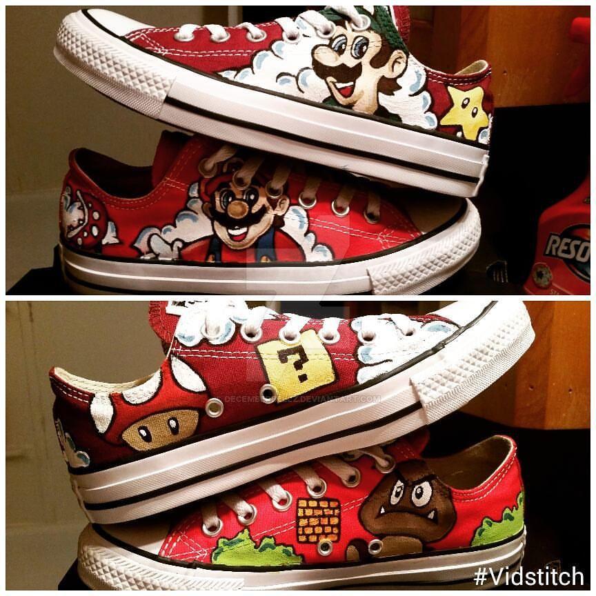 Super Mario Bros Converse by DecemberBellz