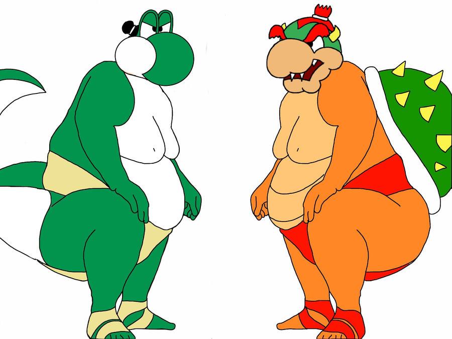 Fat SUMO Yoshi VS Fat SUMO Bowser by YOshIIi9Yoshi And Bowser