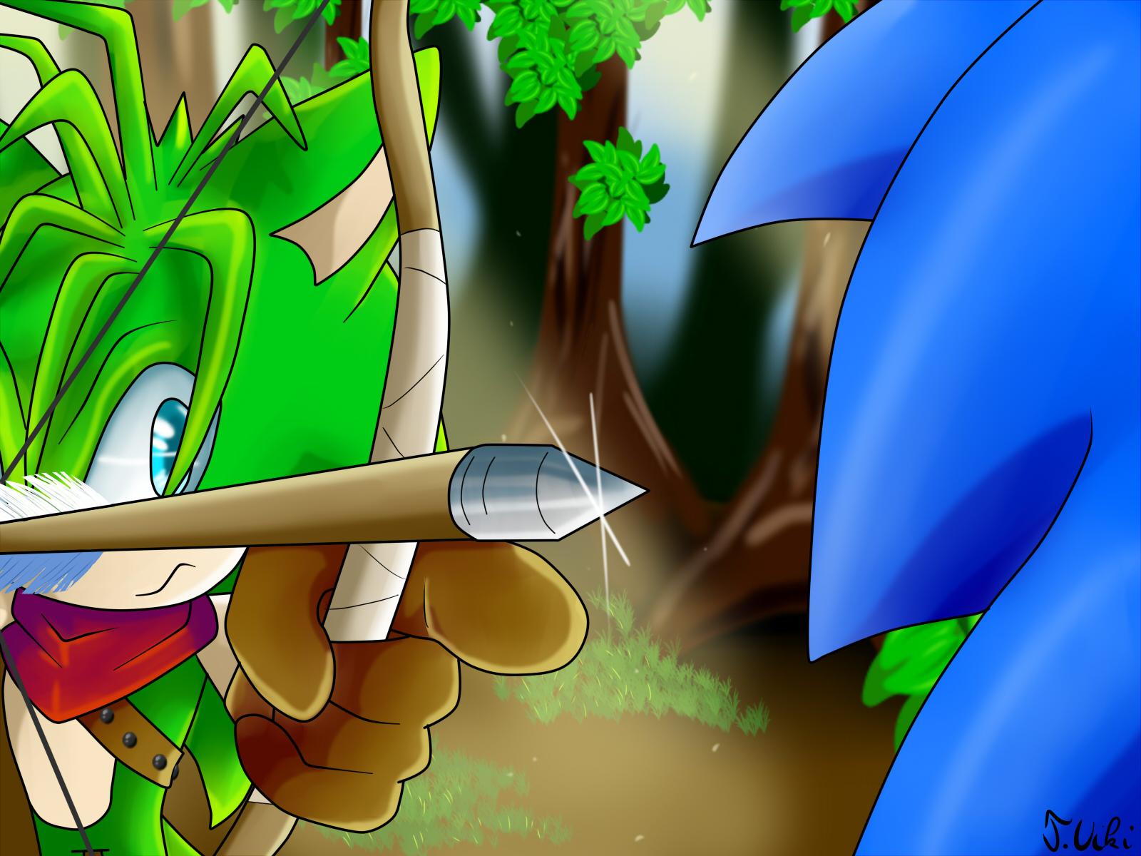 Manic shoots Sonic by TothViki