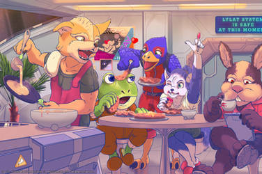 Star Fox - First Breakfast With New Family by GeroVort