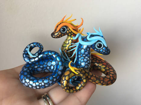 Polymer Clay Miniature Dragon- Ice  and Fire