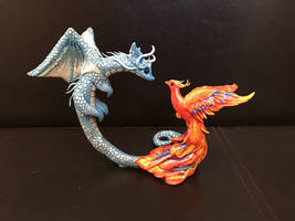 Polymer Clay Dragon and Phoenix Sculpture