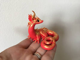 Polymer Clay Miniature Dragon Sculpture- Red