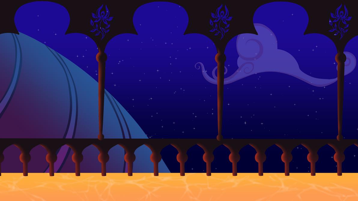MLP Princess Jadences Balcony Background Night By