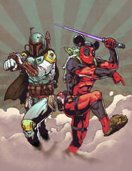 Deadpool and Boba Fett commission by VegasDay