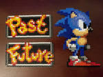 Sonic with Past and Future signs from Sonic CD by psycosulu