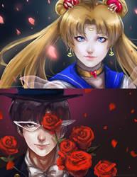 Sailor Moon and Tuxedo Mask by darkshia
