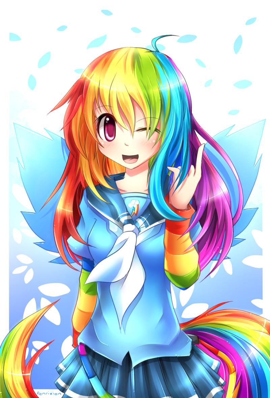 MLP Gakusei : Rainbow Dash by Fenrixion