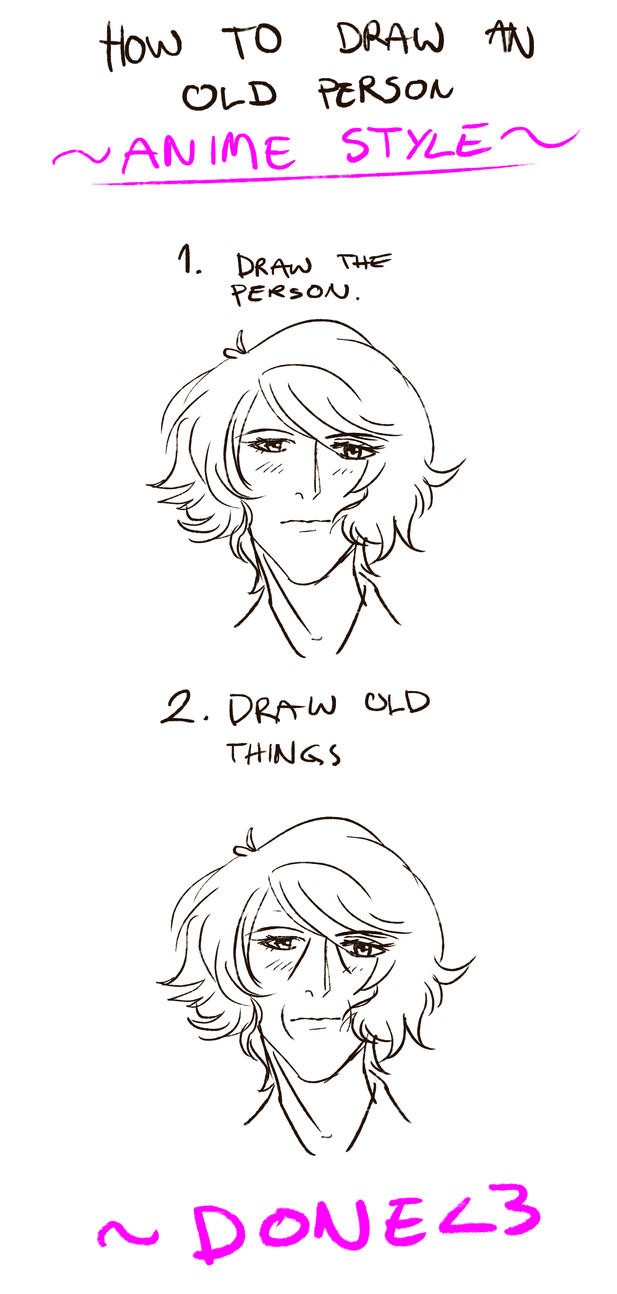HOW TO DRAW OLD PEOPLE ANIME STYLE OMG By Hollyoakhill