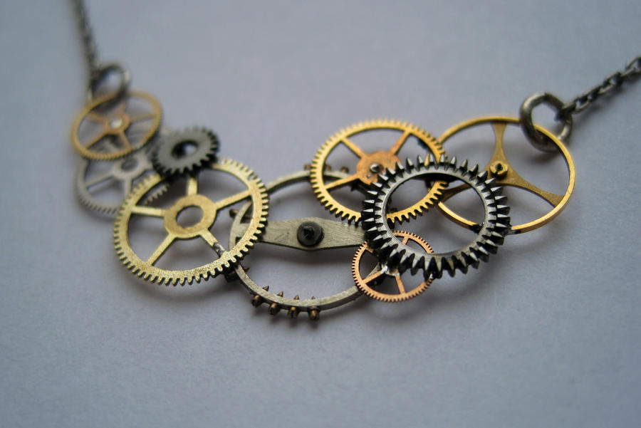 pendant silver necklace gear jewelry pearl gold clockwork statement moving steampunk movement watch