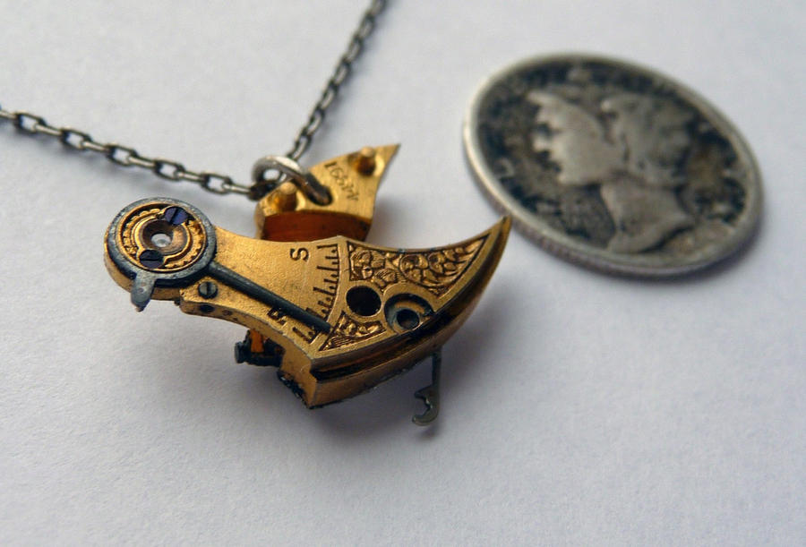 necklace polished steampunk image gear product owl fashions pendant products