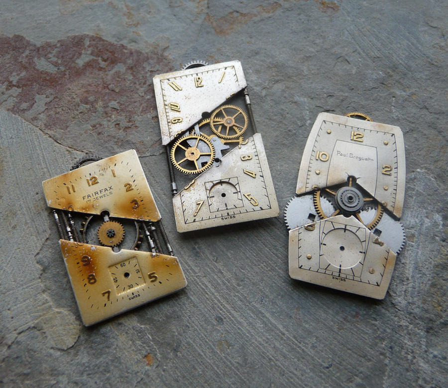 Deconstructed/Reconstructed Watch Face Pendants by AMechanicalMind