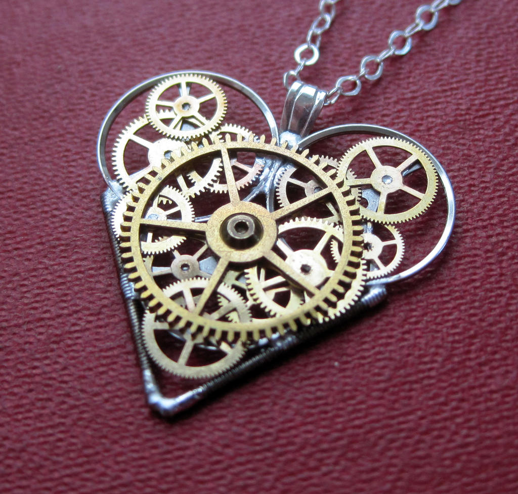Mechanical Heart Necklace Intricate by AMechanicalMind