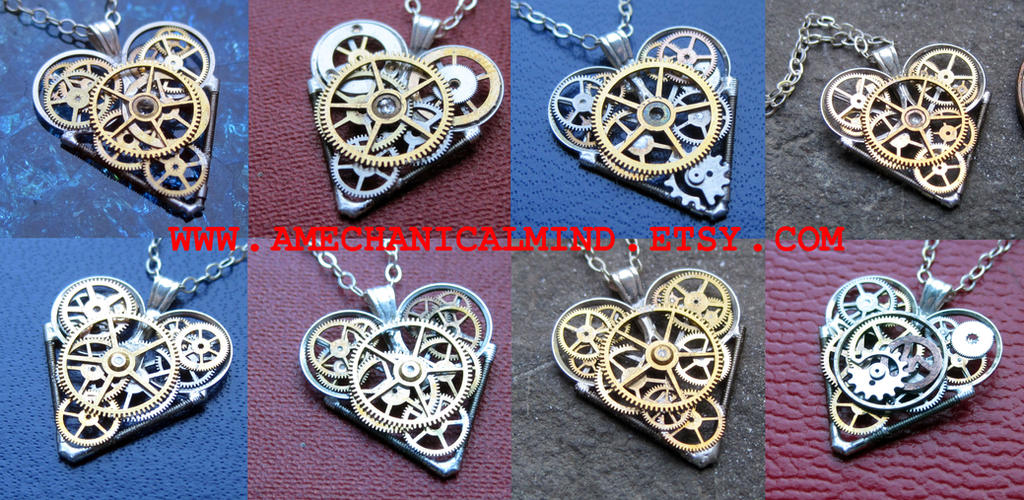 Watch Parts Heart Necklaces, September 2014 by AMechanicalMind