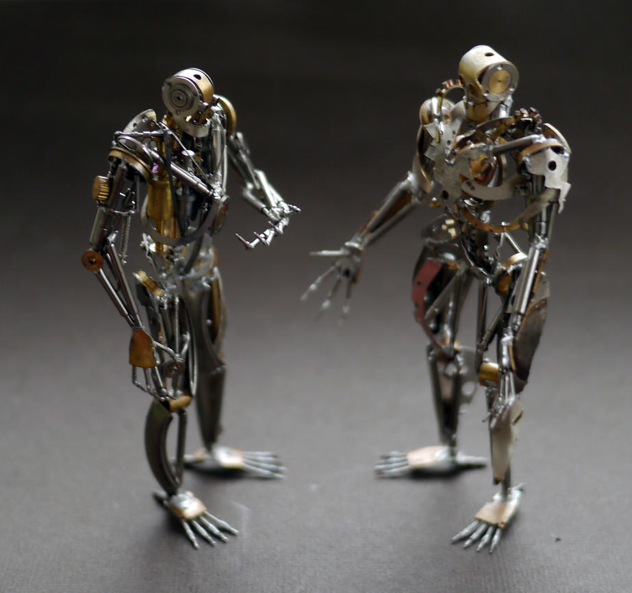Sentience and Chronoton (watch parts sculptures) by AMechanicalMind