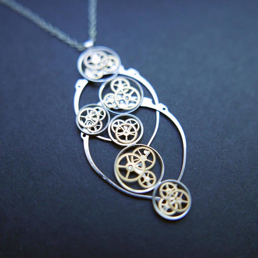 Andriamamovoka (watch parts cascade necklace) by