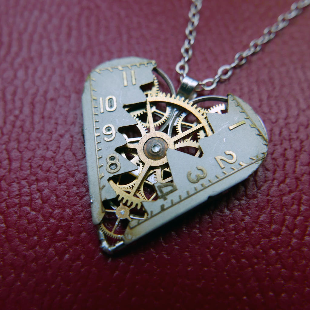 Reconstructed Watch Parts Heart Necklace 'Kinsale' by AMechanicalMind
