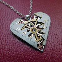 Reconstructed Watch Parts Heart Necklace 'Laux' by AMechanicalMind
