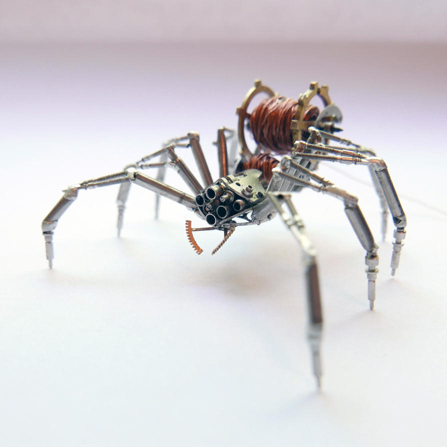 Watch Parts and Recycled Wire Spider No 92 by AMechanicalMind