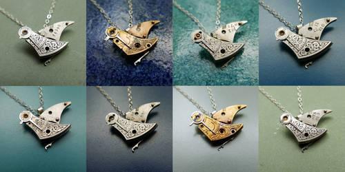 Watch Parts Bird Necklaces by AMechanicalMind