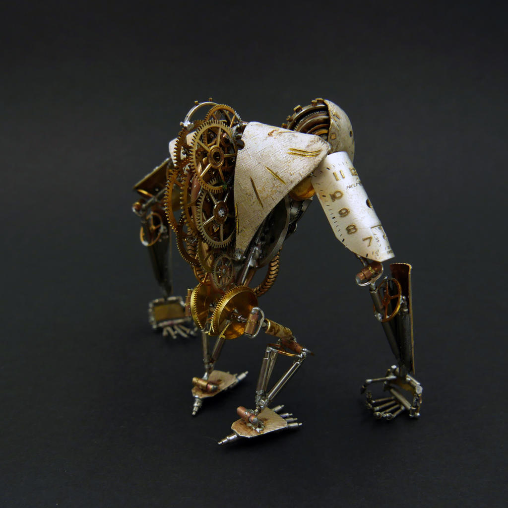 Articulated Watch Parts Creature 'Greeper' (back) by AMechanicalMind