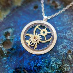 Watch Date Wheel Necklace 'Banneker' Recycled Gear