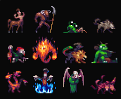 Tiny 32x32px RPG creatures by aamatniekss